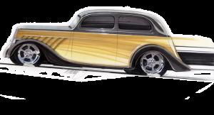 black and gold sedan